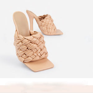 LITTY WOVEN SQUARE TOE HEEL