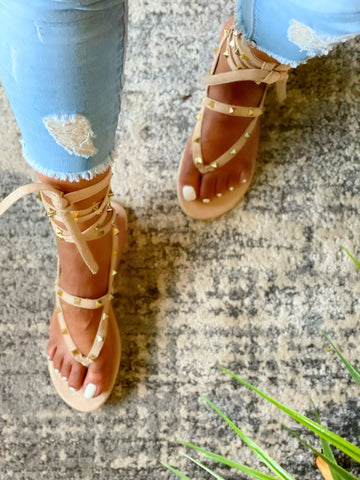 ALL TIED UP STUDDED SANDALS