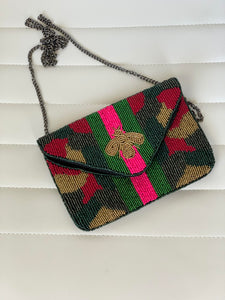 BEADED BUMBLE BEE BAG-CAMO