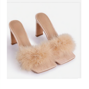 HONEYMOON FLUFFY PEEP TOE MULE IN NUDE FAUX SUEDE