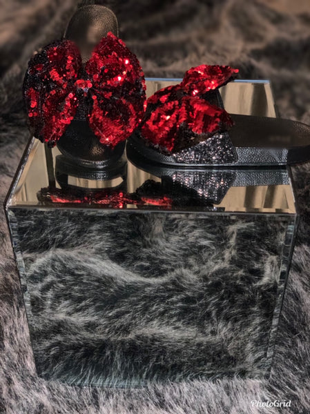 Red & Black Sequin Slides - Fly Shoe Boutique and Accessories