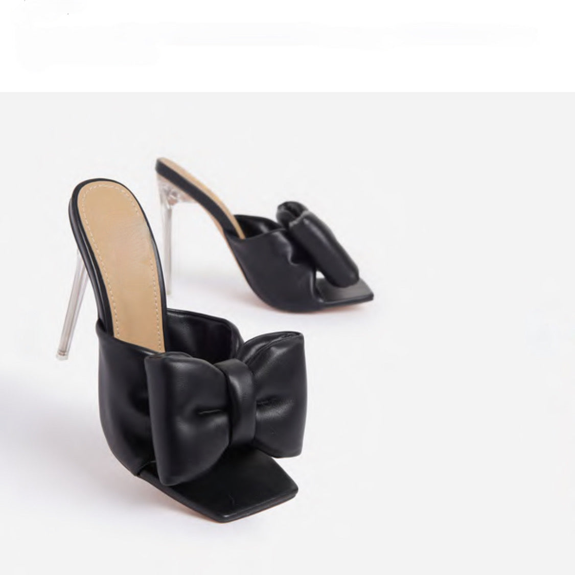 ROYALTY LARGE BOW HEELS-BLACK