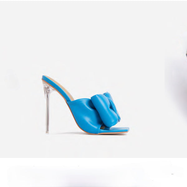 ROYALTY LARGE BOW HEELS-BLUE