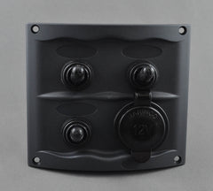 CONTOUR THREE SWITCH PANEL WITH ACCESSORY SOCKET
