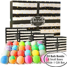 Load image into Gallery viewer, Bulk Bath Bombs Gift Set by Purelis. 24 Pc Large Bath Balls wrapped in 4 Gift Boxes. Relaxation, Moisturizing & Natural Bathbomb Gift Box Infused with Essential Oils - ardenorganics.com