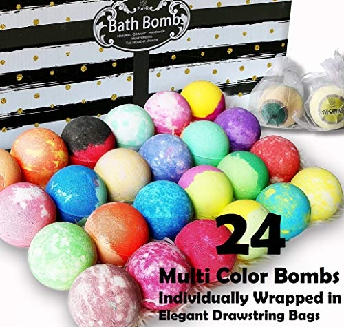 Aromatherapy Bath Bomb Gift Set.24 Individually Wrapped Bath Bombs Gift Sets. Lush Bath Bombs Set Ready To Gift! 24 Large Bath Balls Fizzers Bath Bombs for Women, Men and Kids! (Party Favor Bags) - ardenorganics.com