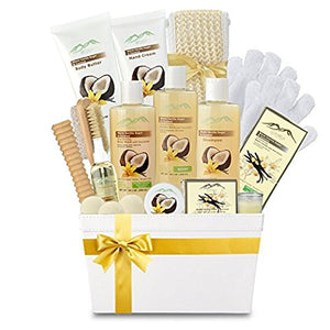 Warm Vanilla Sugar & Coconut Milk Premium Deluxe Bath & Body Gift Basket. Ultimate Large Spa Basket! #1 Spa Gift Basket for Women… - ardenorganics.com
