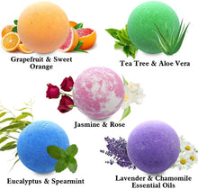 Load image into Gallery viewer, Relaxing Bath Bombs for Men & Women! 50 Wholesale Bath Bombs Individually Wrapped. Bulk Aromatherapy Essential Oil Bath Bombs for Adults Teens Kids! Bath Fizzies #1 Best Pampering Gifts for Women!