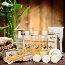 Load image into Gallery viewer, Warm Vanilla Sugar & Coconut Milk Premium Deluxe Bath & Body Gift Basket. Ultimate Large Spa Basket! #1 Spa Gift Basket for Women… - ardenorganics.com