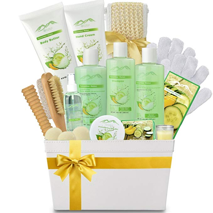 Cucumber Melon Deluxe XL Gourmet Gift Basket with Essential Oils. 20-Piece Luxury Spa Gift Set with Bath Bombs, Body Lotion, & More! - ardenorganics.com