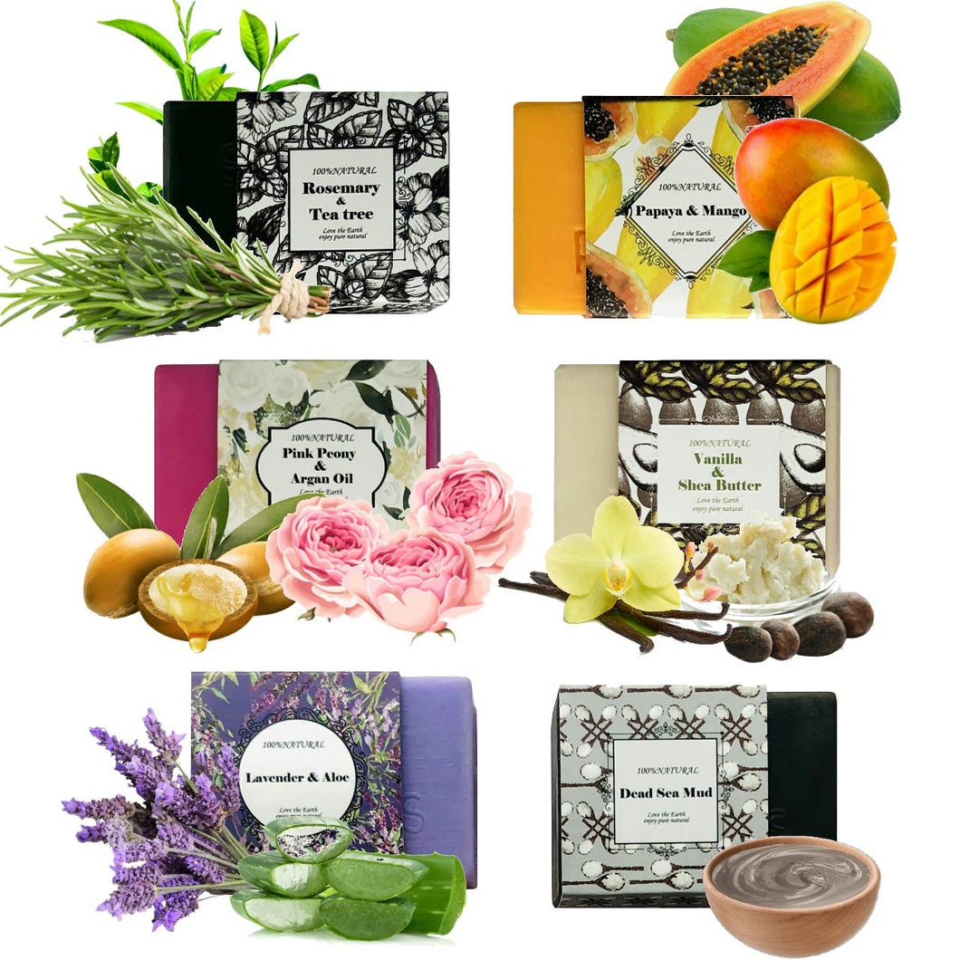 Handmade Soap Bars Gift Set - 6 Pc Purelis Natural Soap Set- Artisan Crafted Soap Bars with Essential Oils. Soap Gift Set for Women Makes Best Bath And Body Holiday Gift for Women! - ardenorganics.com