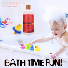 Load image into Gallery viewer, Purelis bubble bath Citrus, Hypoallergenic Kids Bubble Bath Tear Free to Soothe & Relax. Sulfate Free Bubble Bath- 16.9 oz Bubble Bath for Sensitive Skin! - ardenorganics.com