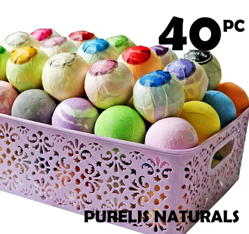 Bath Bombs Gift Baskets for Women! Basket of 40 Moisturizing Spa Fizzers Lush Bombs, 40 Unique Organic Bath Bombs Set. Luxury Spa Basket to store in. Gift Idea for Wife, Mom, Girl Friend, Party Favors - ardenorganics.com