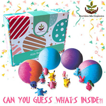 Load image into Gallery viewer, Kids Bath Bombs Gift Set. 12 Large Organic Bath Bombs with Surprise Inside. Make Bathtime Fun with Bath Bombs for Kids with Toys Inside! Great Birthday Gift box for Boys & Girls - ardenorganics.com