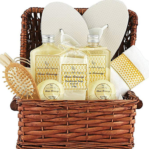 Large Spa Gift Basket. Tropical Islands Clean Getaway Spa Basket with Bubble Bath, Beach Bath Bombs etc. Best Thank You Gift for Men & Woman - ardenorganics.com