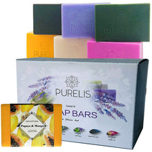 Load image into Gallery viewer, Handmade Soap Bars Gift Set - 6 Pc Purelis Natural Soap Set- Artisan Crafted Soap Bars with Essential Oils. Soap Gift Set for Women Makes Best Bath And Body Holiday Gift for Women! - ardenorganics.com