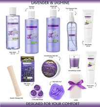 Load image into Gallery viewer, Jasmine Lavender Bath Gift Basket for Women! XL Spa Gift Basket for Relaxing at Home Spa Kit. Purelis Aromatherapy Bath Sets for Women are the #1 Choice in Spa Baskets and Womens Gift Baskets - ardenorganics.com