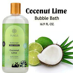 Purelis bubble bath Lime, Hypoallergenic Kids Calming Lime Bubble Bath to Soothe & Relax. Sulfate Free - 26.5 oz Bubble Bath for Sensitive Skin! - ardenorganics.com