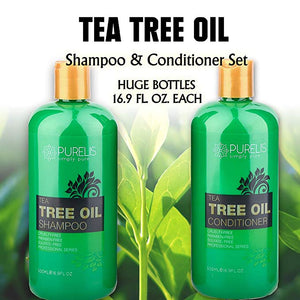 Purelis Tea Tree Oil Shampoo & Conditioner Set, Tea Tree Shampoo + Tea Tree Conditioner for Deep Cleansing & Hydrating - ardenorganics.com
