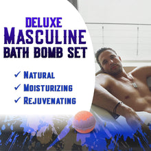 Load image into Gallery viewer, Bath Bomb Gift Sets for Men. 24 Therapeutic Aromatherapy Mens Bath Bombs. XL Shea Bath Bombs for Men. Relaxation Gift Set for Him.Best Gift for Dad & Fathers Day Gift Sets!