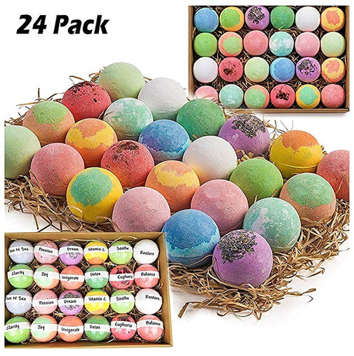 Gift Set of 24 Nurture Me Organic Bath Bombs, Large Bath Fizzies All Natural with Organic Shea & Cocoa Butter - ardenorganics.com