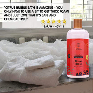 Purelis bubble bath Citrus, Hypoallergenic Kids Bubble Bath Tear Free to Soothe & Relax. Sulfate Free Bubble Bath- 16.9 oz Bubble Bath for Sensitive Skin! - ardenorganics.com