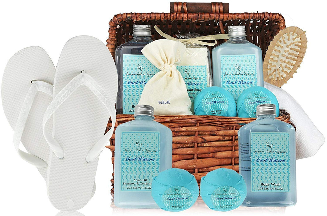 Deluxe Spa Basket, Cool Waters Gift Baskets for Men & Women. Bath & Body Gift Set for Christmas Gift, Birthday Gift, Thank You Gift Basket - ardenorganics.com
