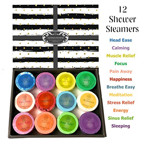 Purelis Shower Steamer Gift Box. Set of 12 Aromatherapy Shower and Bath Bombs Individually Wrapped. Organic Shower Steamer Tablets and Essential Oil Shower Steamers for Spa Gift Set - ardenorganics.com
