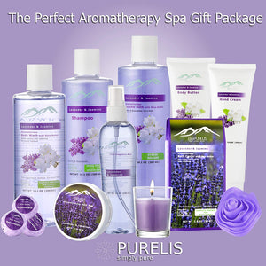 Jasmine Lavender Bath Gift Basket for Women! XL Spa Gift Basket for Relaxing at Home Spa Kit. Purelis Aromatherapy Bath Sets for Women are the #1 Choice in Spa Baskets and Womens Gift Baskets - ardenorganics.com