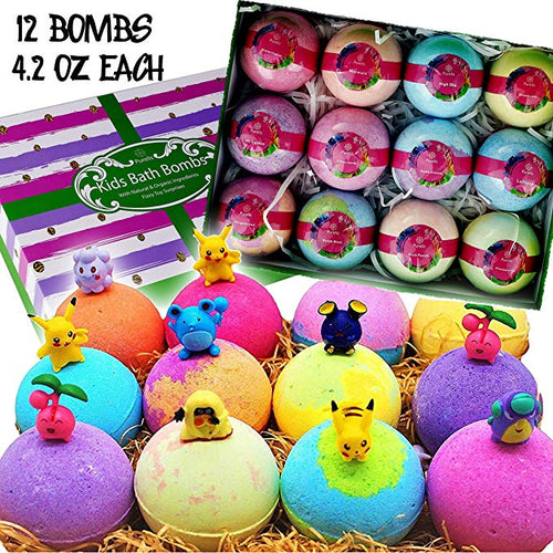 Natural Bath Bfor Kids with Toys Inside! Great Gift Set for Boys & Girls! Safe Ingredients 12 Individually Wrappedomb Gift Set. Bath Bombs - ardenorganics.com