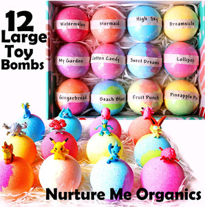 Kids Bath Bombs Gift Set. 12 Large Organic Bath Bombs with Surprise Inside. Make Bathtime Fun with Bath Bombs for Kids with Toys Inside! Great Birthday Gift box for Boys & Girls - ardenorganics.com
