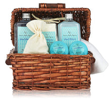 Load image into Gallery viewer, Deluxe Spa Basket, Cool Waters Gift Baskets for Men & Women. Bath & Body Gift Set for Christmas Gift, Birthday Gift, Thank You Gift Basket - ardenorganics.com