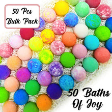 Load image into Gallery viewer, Bulk Bath Bombs Gift Set - 50 Natural Individually Wrapped Bath Bomb Kit - JA Organic Moisturizing Bath Balls for Women Men & Kids. Best Bath Bombs Party Favors for Adults & Teens. Sulfate Free
