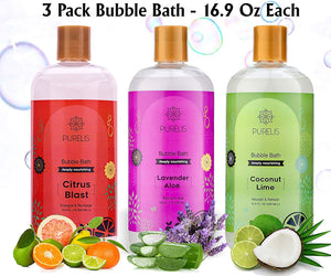 Bubble Bath Tear Free 3 Pack Lavender, Citrus + Coconut & Lime - Hypoallergenic Bubble Baths for Women & Kids to Soothe & Relax. Sulfate Free Bubble Bath for sensitive skin! - ardenorganics.com