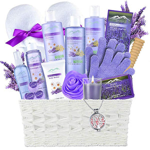 Lavender Spa Gift Basket by Purelis - Aromatherapy Spa Kit for Women, Premium Special Bath and Body Relaxation Gift! … (XL SPA BASKET) - ardenorganics.com