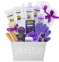 Load image into Gallery viewer, Grapeseed & Lavender Deluxe XL Gourmet Spa Gift Basket with Essential Oils.20-Piece Luxury Bath & Body Gift Set with Bath Bombs, Bubble Bath & More! - ardenorganics.com