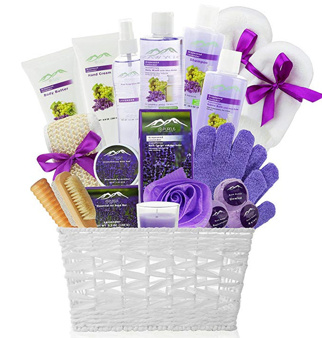 Grapeseed & Lavender Deluxe XL Gourmet Spa Gift Basket with Essential Oils.20-Piece Luxury Bath & Body Gift Set with Bath Bombs, Bubble Bath & More! - ardenorganics.com