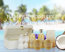 Load image into Gallery viewer, Spa Gift Basket for Women & Teens: Sensational Bath & Body Spa Kit, Mothers Day Gift! Sulfate Free Bubble Bath, Body Butter, Bath Bombs & More! - ardenorganics.com
