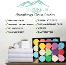 Load image into Gallery viewer, Purelis Shower Steamer Gift Box. Double Pack - Set of 24 Aromatherapy Shower and Bath Bombs Individually Wrapped. Organic Shower Steamer Tablets and Essential Oil Shower Steamers for Spa Gift Set