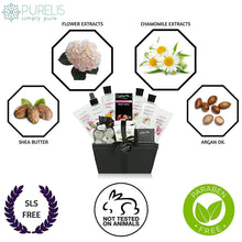Load image into Gallery viewer, Floral Caress. Large Bath Body Gift Basket - Ultimate Large Spa Basket etc. #1 Spa Gift Basket for Women, Teens! Spa Kit Pampering Gift for Women! - ardenorganics.com