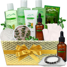 Load image into Gallery viewer, Pampering Gift Set Eucalyptus Mint Aromatherapy Spa Baskets for Men & Women. Bath & Body Spa Gift Baskets for Relaxation! Best Holiday Gift Baskets for Men & Women. - ardenorganics.com