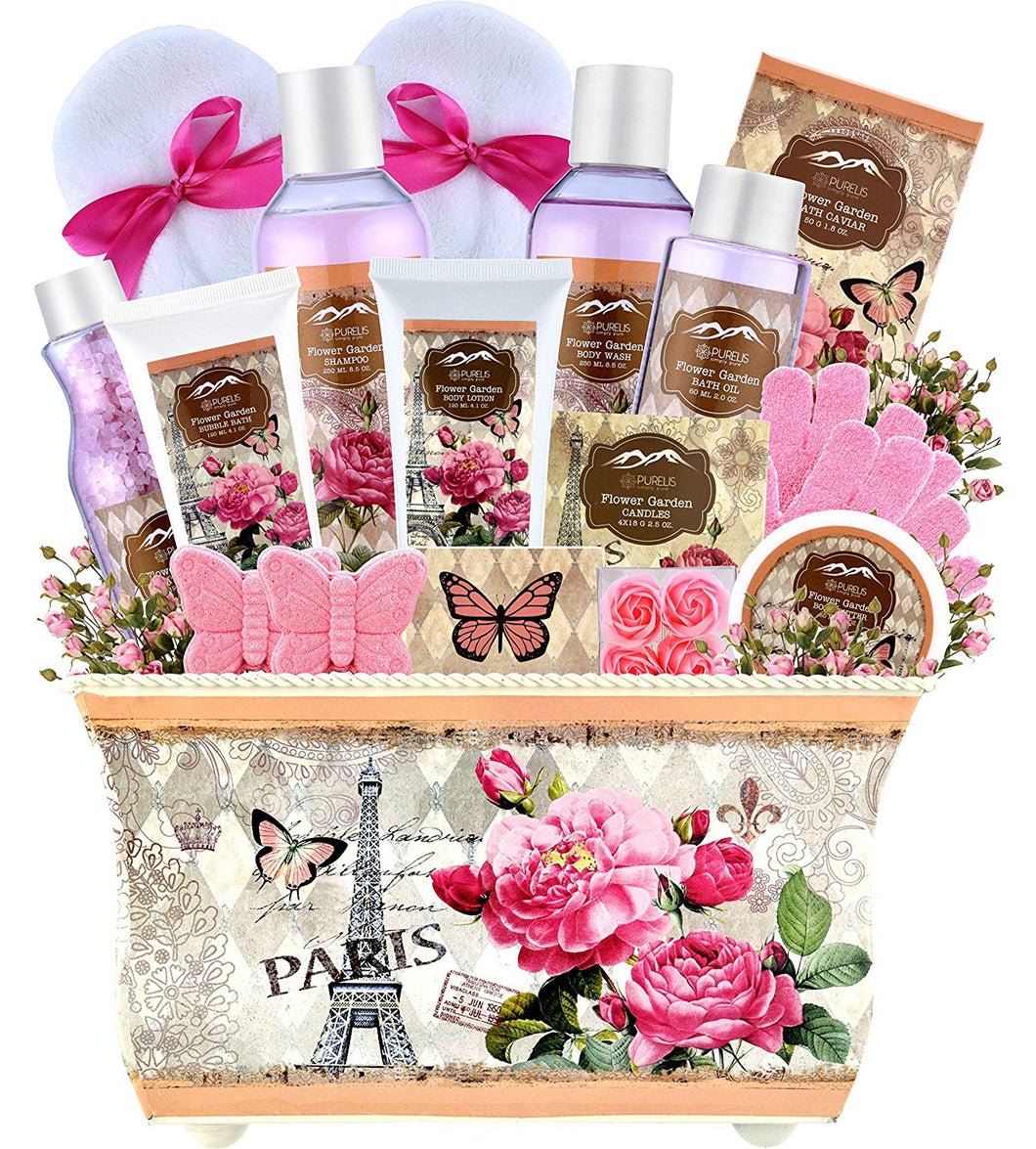 Spa Gift Baskets for Women - Deluxe Bath Basket Spa Set Gardener Gift Baskets - Womens Spa Bath & Body Works Lotion Set. - ardenorganics.com
