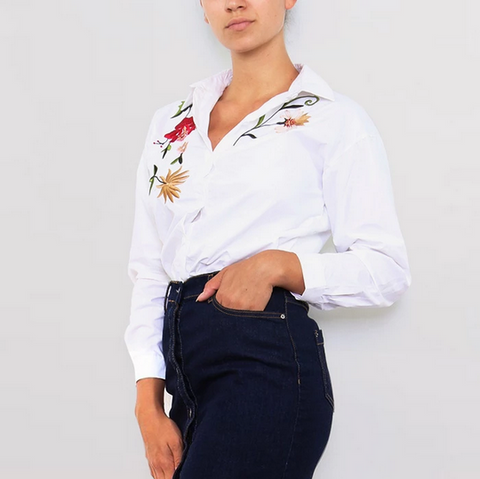 Crisp White Embroidered Shirt