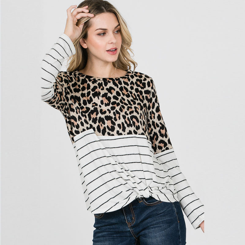 Leopard Stripe Long Sleeve Top