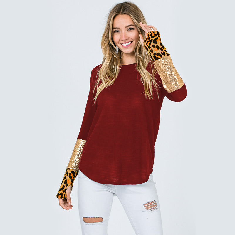 Glitter Leopard Sleeve Top Burgundy