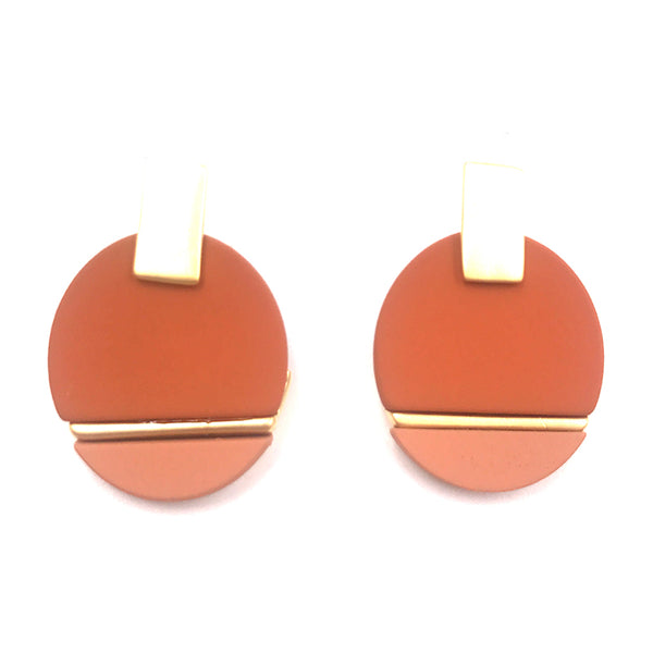Gina Geometic Earring (Brick)