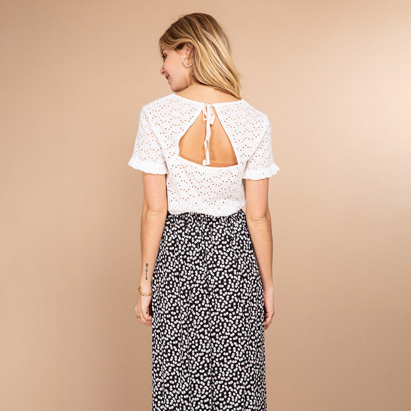 Charlotte Embroidery Top (White)