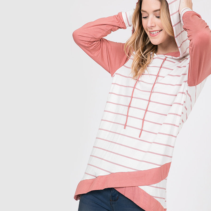 Wendy Wrap Stripe Hoody Pink