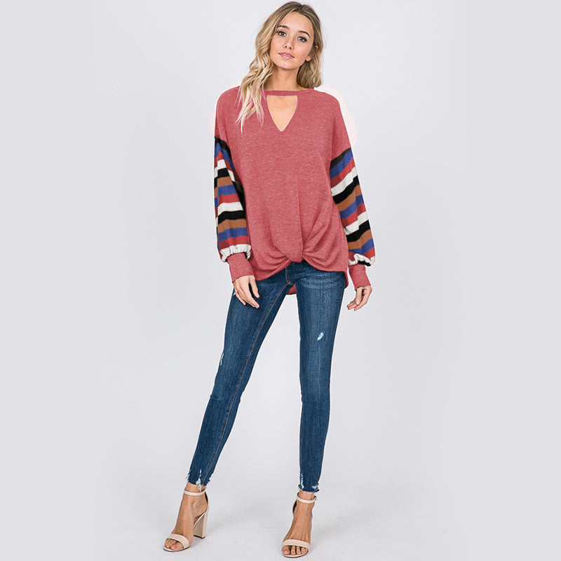 Aine Stripe Sleeve Top Mauve