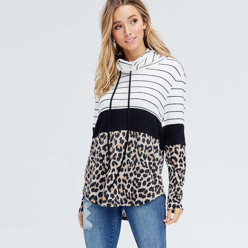 Cowl Neck Leopard Jumper Black